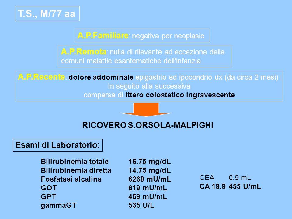 T.S., M/77 aa A.P.Familiare : negativa per neoplasie A.P.Remota : nulla di rilevante ad eccezione delle comuni malattie esantematiche dellinfanzia A.P