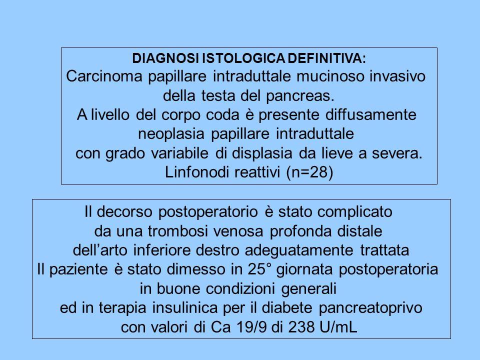 DIAGNOSI ISTOLOGICA DEFINITIVA: Carcinoma papillare intraduttale mucinoso invasivo della testa del pancreas. A livello del corpo coda è presente diffu