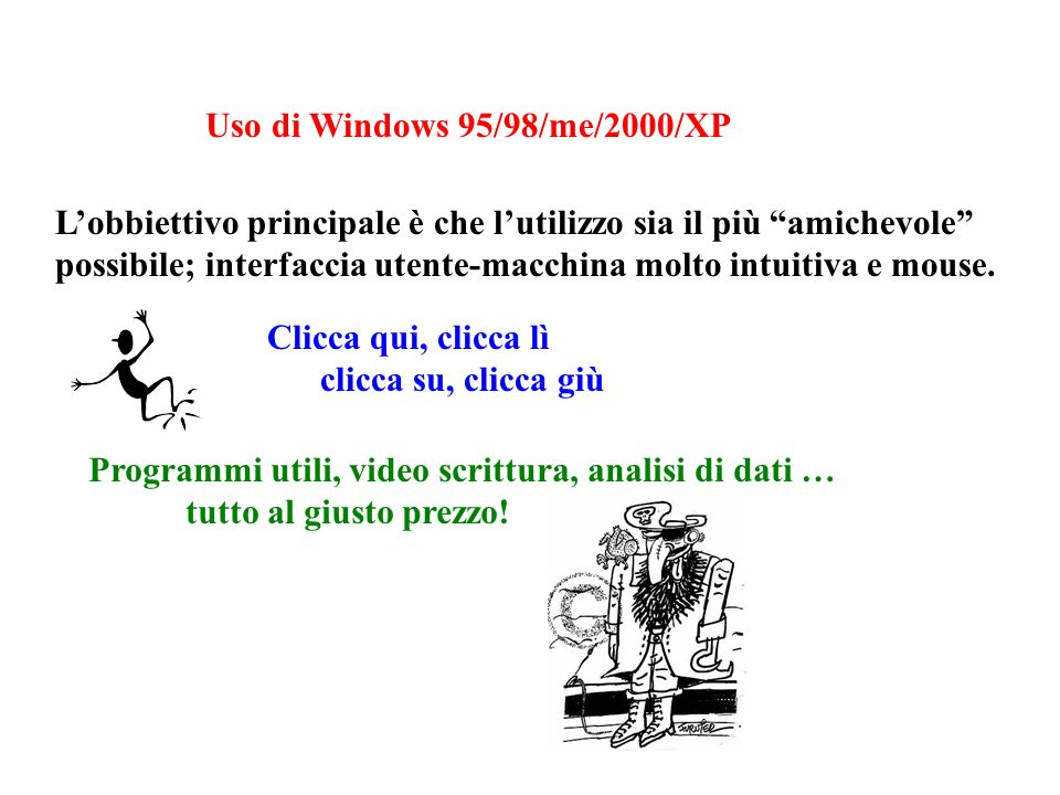 Uso di Windows 95/98/me/2000/XP Lobbiettivo principale è che lutilizzo sia il più amichevole possibile; interfaccia utente-macchina molto intuitiva e