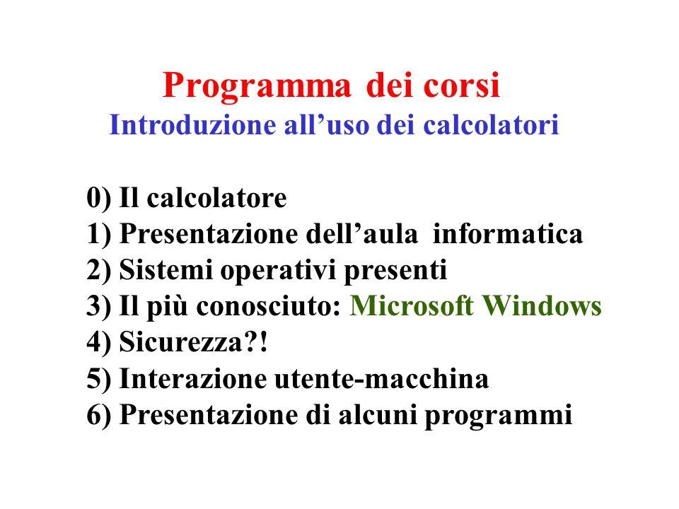 Programma dei corsi Introduzione alluso dei calcolatori 0) Il calcolatore 1) Presentazione dellaula informatica 2) Sistemi operativi presenti 3) Il pi