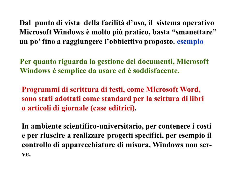 Dal punto di vista della facilità duso, il sistema operativo Microsoft Windows è molto più pratico, basta smanettare un po fino a raggiungere lobbiett