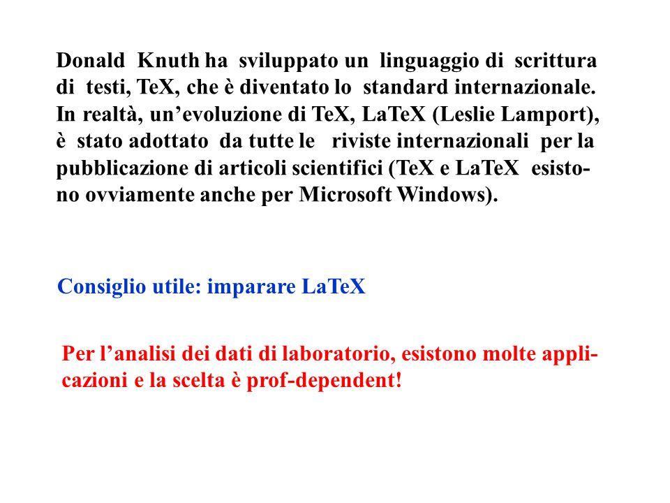 Donald Knuth ha sviluppato un linguaggio di scrittura di testi, TeX, che è diventato lo standard internazionale. In realtà, unevoluzione di TeX, LaTeX