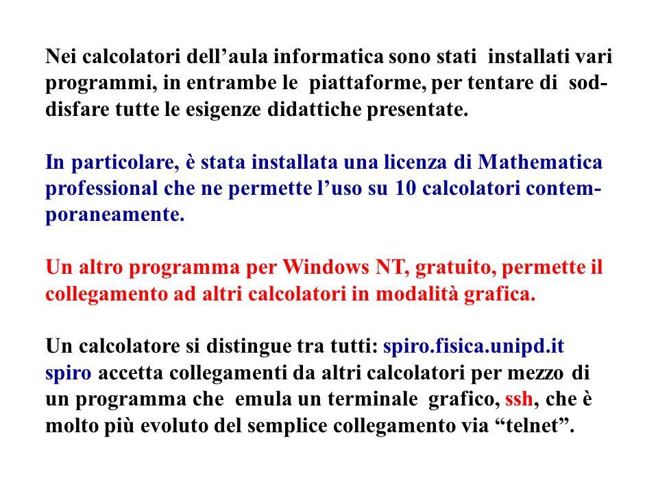 Nei calcolatori dellaula informatica sono stati installati vari programmi, in entrambe le piattaforme, per tentare di sod- disfare tutte le esigenze d