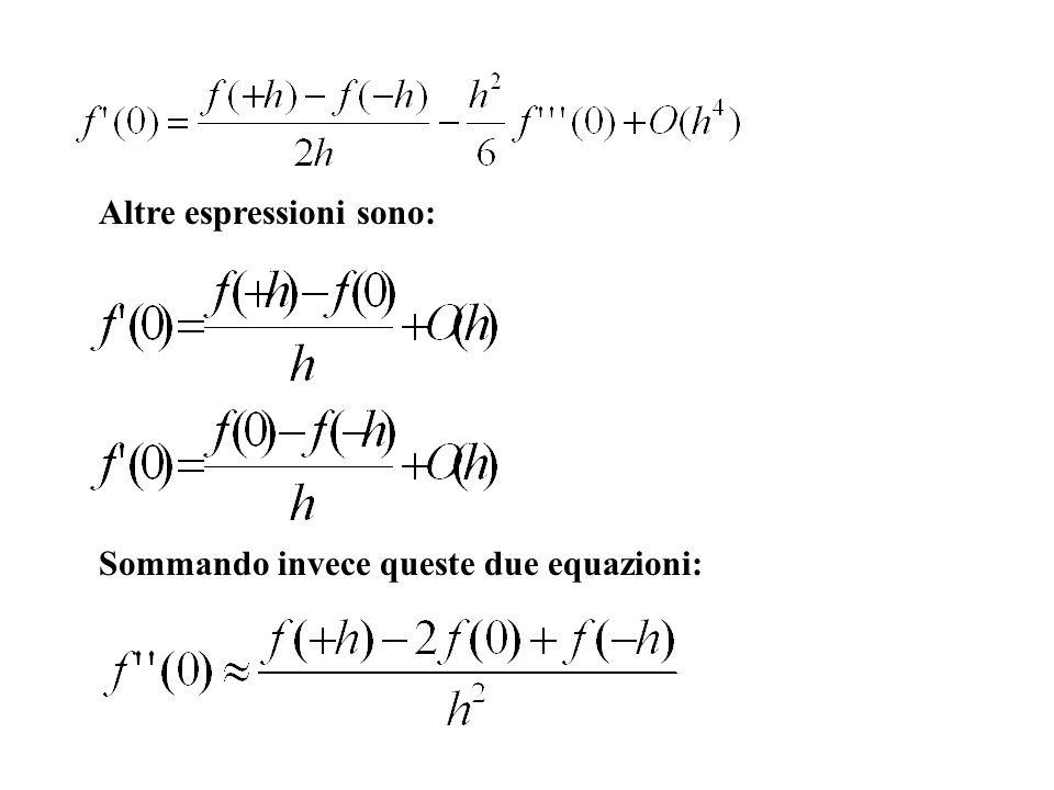 Altre espressioni sono: Sommando invece queste due equazioni: