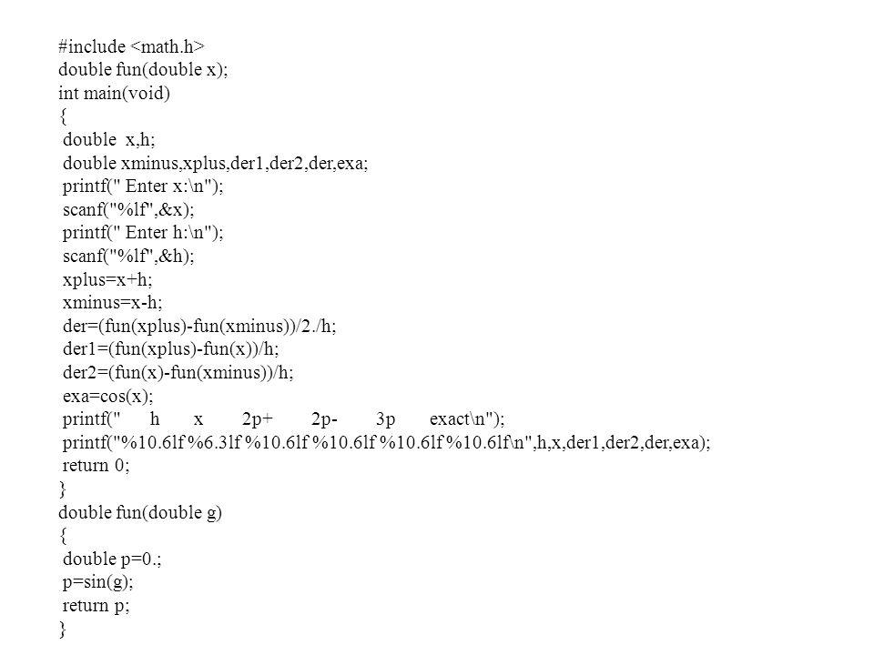 #include double fun(double x); int main(void) { double x,h; double xminus,xplus,der1,der2,der,exa; printf(