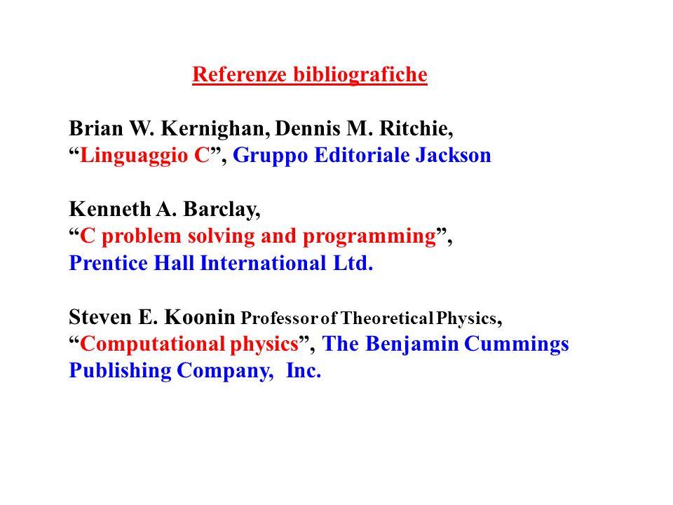 Referenze bibliografiche Brian W. Kernighan, Dennis M. Ritchie, Linguaggio C, Gruppo Editoriale Jackson Kenneth A. Barclay, C problem solving and prog