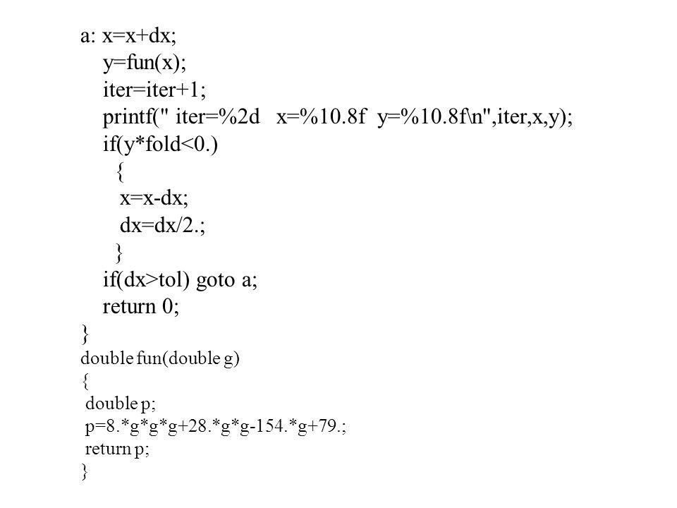 a: x=x+dx; y=fun(x); iter=iter+1; printf(