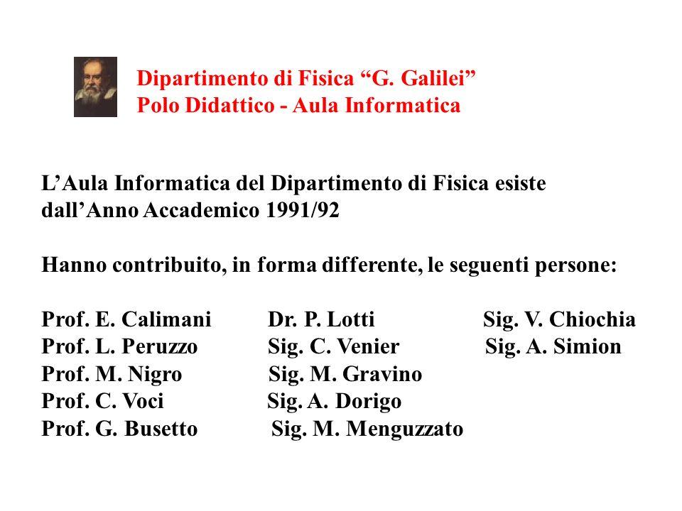 Dipartimento di Fisica G. Galilei Polo Didattico - Aula Informatica LAula Informatica del Dipartimento di Fisica esiste dallAnno Accademico 1991/92 Ha