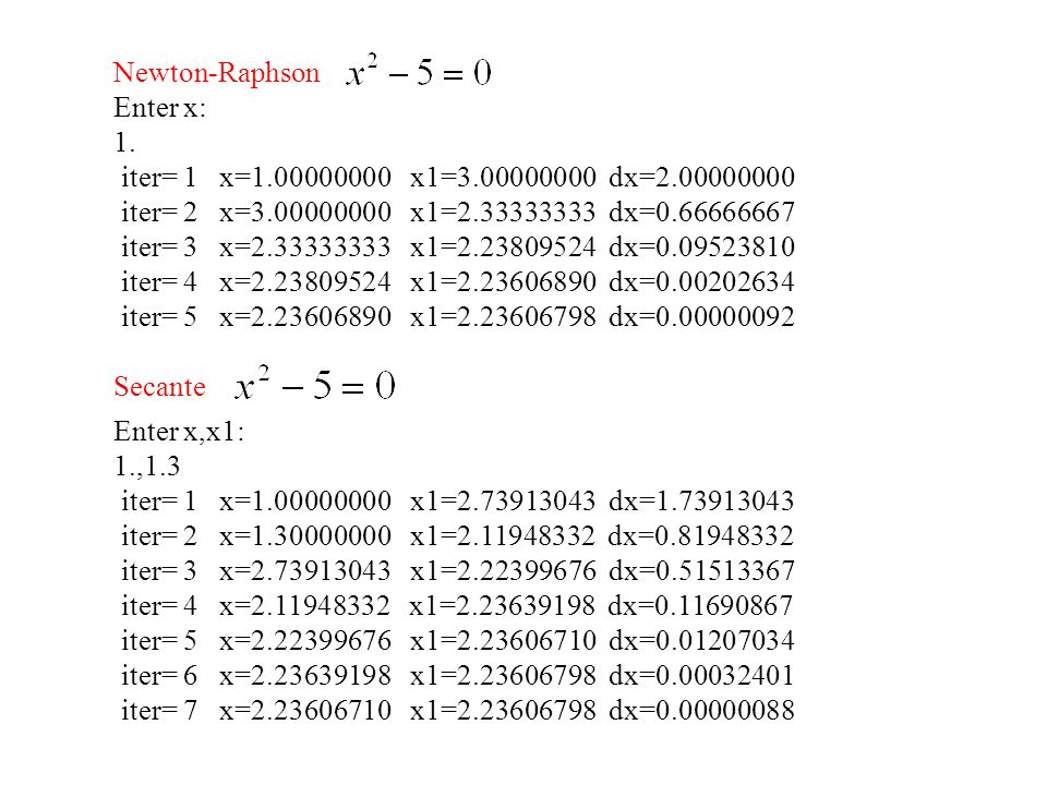 Newton-Raphson Enter x: 1. iter= 1 x=1.00000000 x1=3.00000000 dx=2.00000000 iter= 2 x=3.00000000 x1=2.33333333 dx=0.66666667 iter= 3 x=2.33333333 x1=2