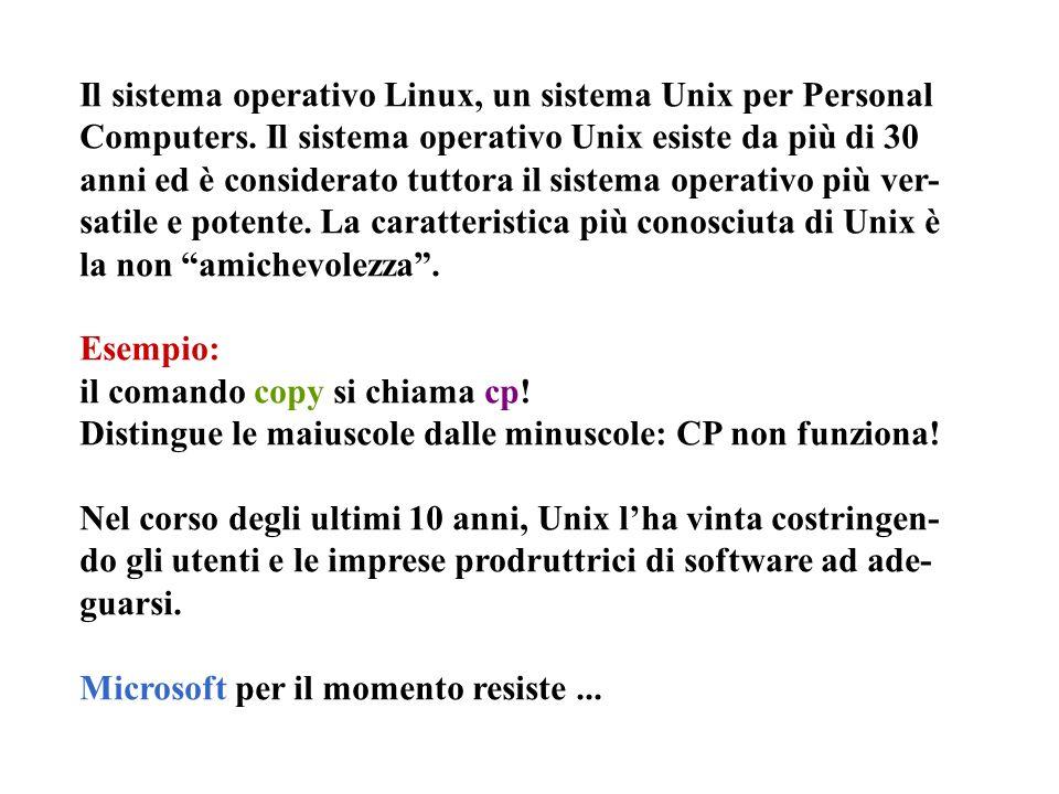 Il sistema operativo Linux, un sistema Unix per Personal Computers. Il sistema operativo Unix esiste da più di 30 anni ed è considerato tuttora il sis