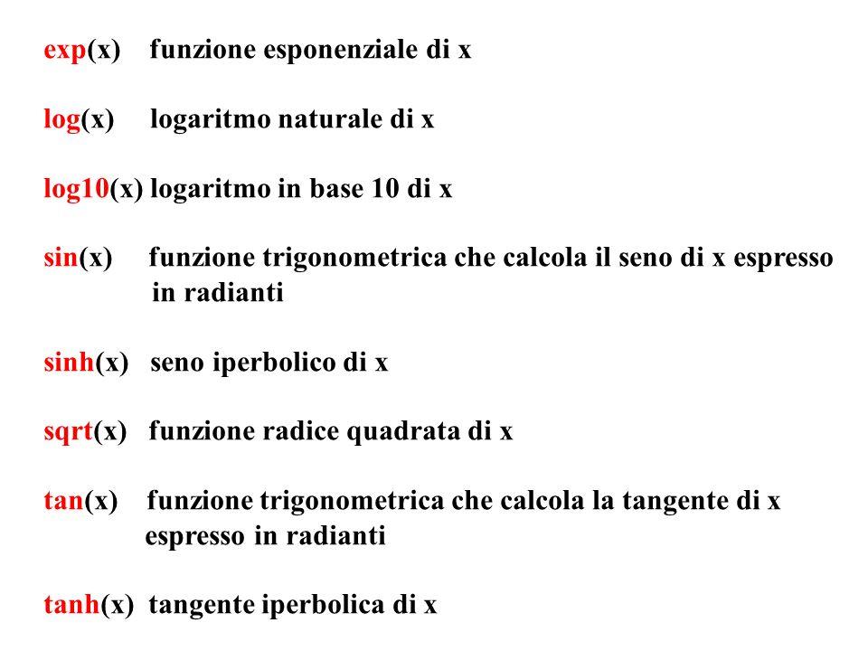 exp(x) funzione esponenziale di x log(x) logaritmo naturale di x log10(x) logaritmo in base 10 di x sin(x) funzione trigonometrica che calcola il seno