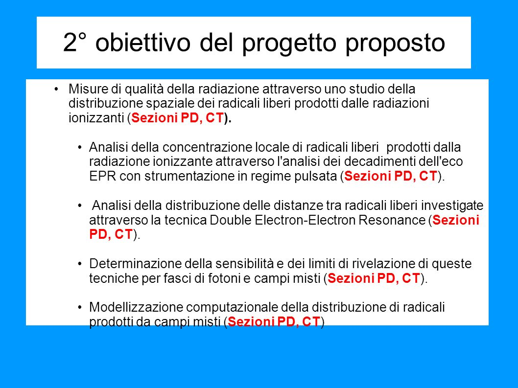 Irraggiamenti 60 Co -photons doses: 0.1, 1.0 and 5.0 kGy effective LET ~ 0.35 keV/ m 19.3 MeV protons doses: 0.1, 1.0 and 5.0 kGy LET ~ 4.6 keV/ m Thermal neutrons doses: ~0.05 kGy effective LET ~ 70 keV/ m Precedente esperienza gruppi di Palermo e Padova