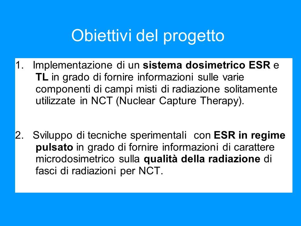 1° obiettivo del progetto proposto Implementare un sistema dosimetrico tramite ESR che permetta di caratterizzare un campo misto fotoni- neutroni, e in particolare: i.