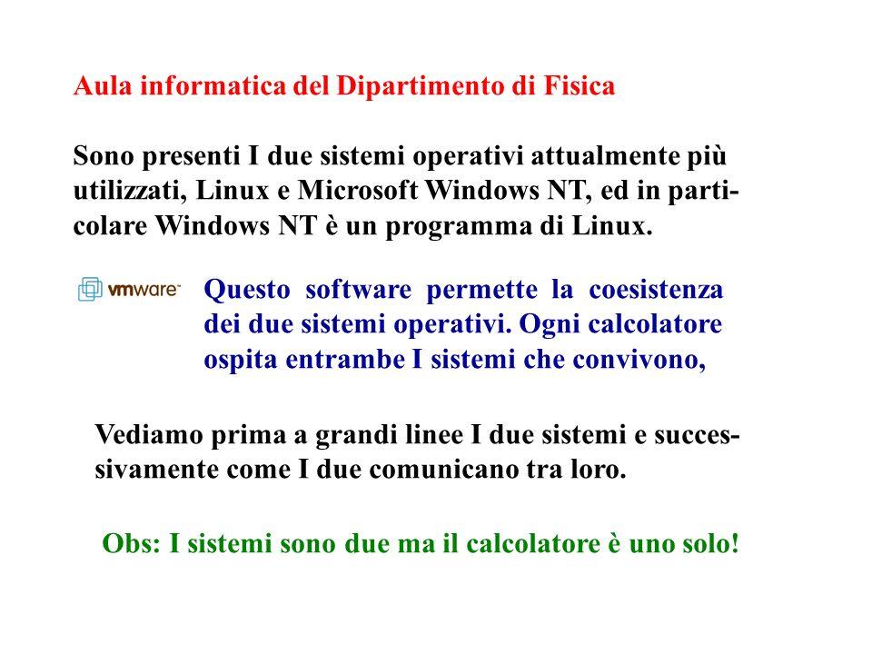 Aula informatica del Dipartimento di Fisica Sono presenti I due sistemi operativi attualmente più utilizzati, Linux e Microsoft Windows NT, ed in parti- colare Windows NT è un programma di Linux.