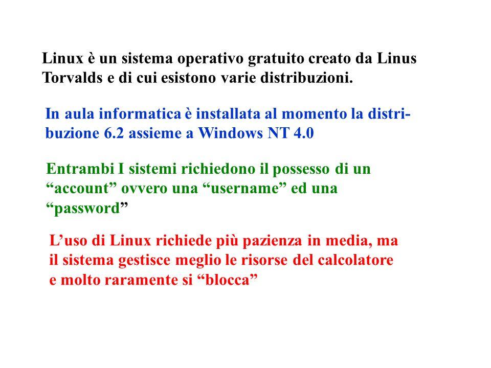 Linux è un sistema operativo gratuito creato da Linus Torvalds e di cui esistono varie distribuzioni.