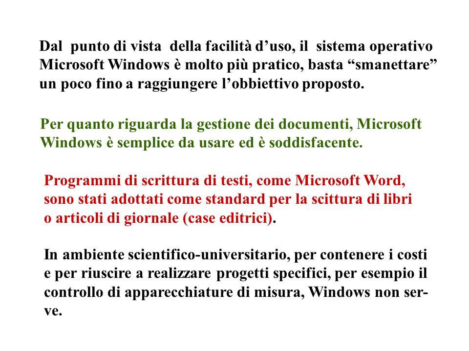 Dal punto di vista della facilità duso, il sistema operativo Microsoft Windows è molto più pratico, basta smanettare un poco fino a raggiungere lobbiettivo proposto.