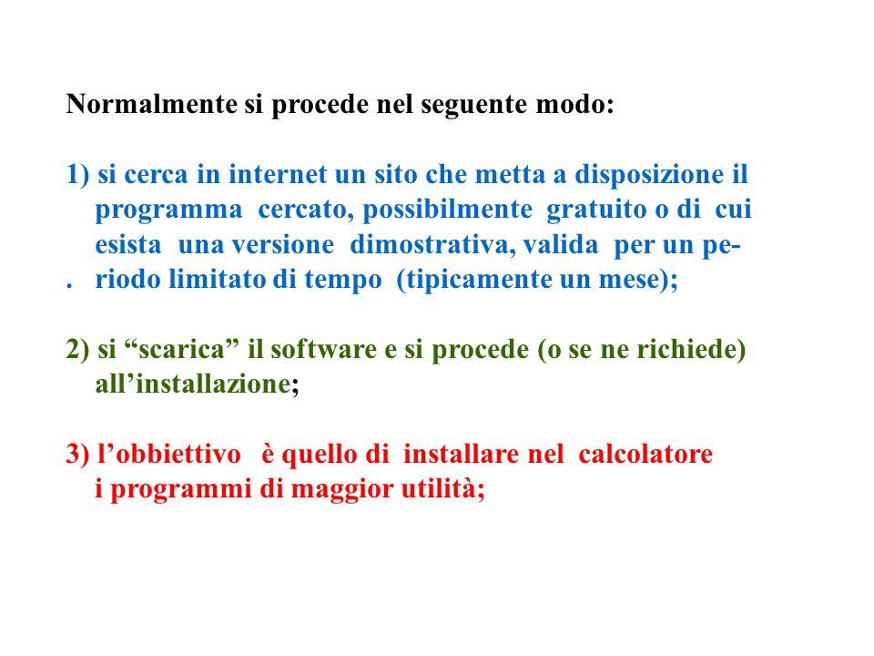 Normalmente si procede nel seguente modo: 1) si cerca in internet un sito che metta a disposizione il programma cercato, possibilmente gratuito o di cui esista una versione dimostrativa, valida per un pe-.