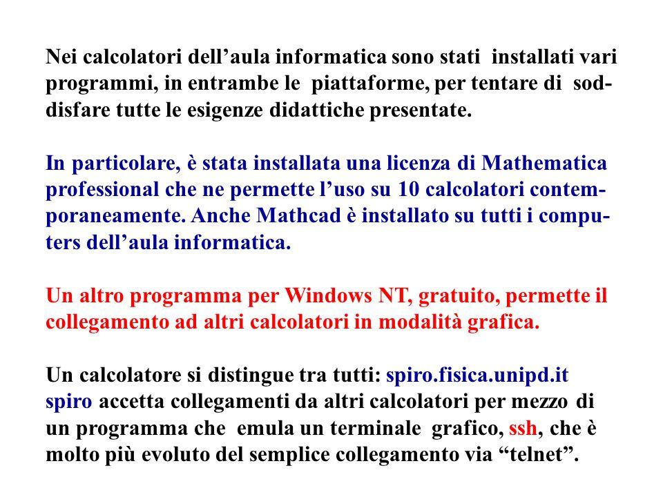 Nei calcolatori dellaula informatica sono stati installati vari programmi, in entrambe le piattaforme, per tentare di sod- disfare tutte le esigenze didattiche presentate.