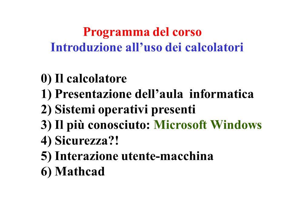 Programma del corso Introduzione alluso dei calcolatori 0) Il calcolatore 1) Presentazione dellaula informatica 2) Sistemi operativi presenti 3) Il più conosciuto: Microsoft Windows 4) Sicurezza .