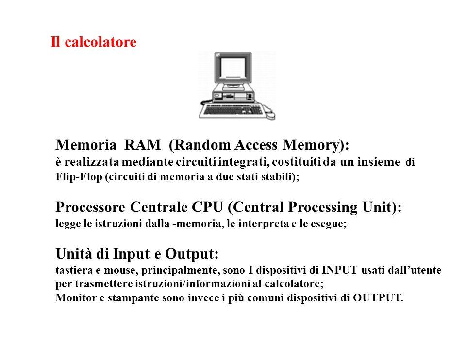 Il calcolatore Memoria RAM (Random Access Memory): è realizzata mediante circuiti integrati, costituiti da un insieme di Flip-Flop (circuiti di memoria a due stati stabili); Processore Centrale CPU (Central Processing Unit): legge le istruzioni dalla -memoria, le interpreta e le esegue; Unità di Input e Output: tastiera e mouse, principalmente, sono I dispositivi di INPUT usati dallutente per trasmettere istruzioni/informazioni al calcolatore; Monitor e stampante sono invece i più comuni dispositivi di OUTPUT.