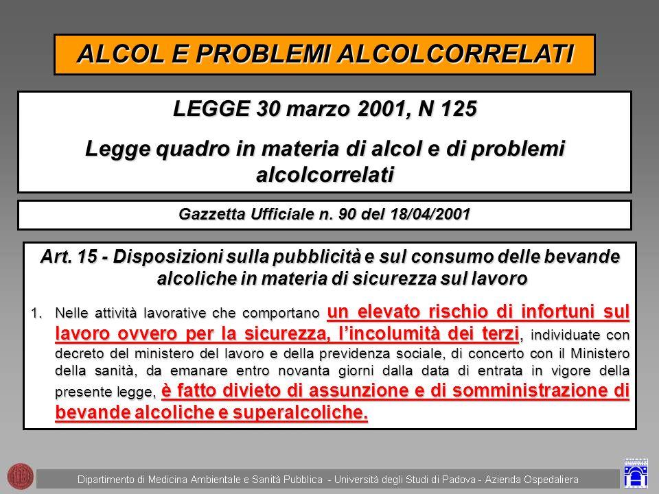 2.Per le finalità previste dal presente articolo i controlli alcolimetrici nei luoghi di lavoro possono essere effettuati esclusivamente dal medico competente ai sensi dellarticolo 2, comma 1, lettera d), del decreto legislativo 19 settembre 1994, n.