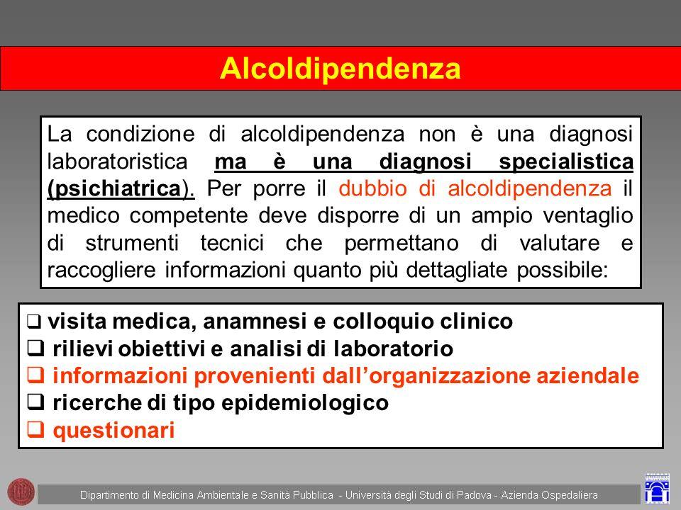 DEFINIZIONE DI ALCOL DIPENDENZA DSM-IV-TR Manuale Statistico Diagnostico delle malattie mentali IV°ed.