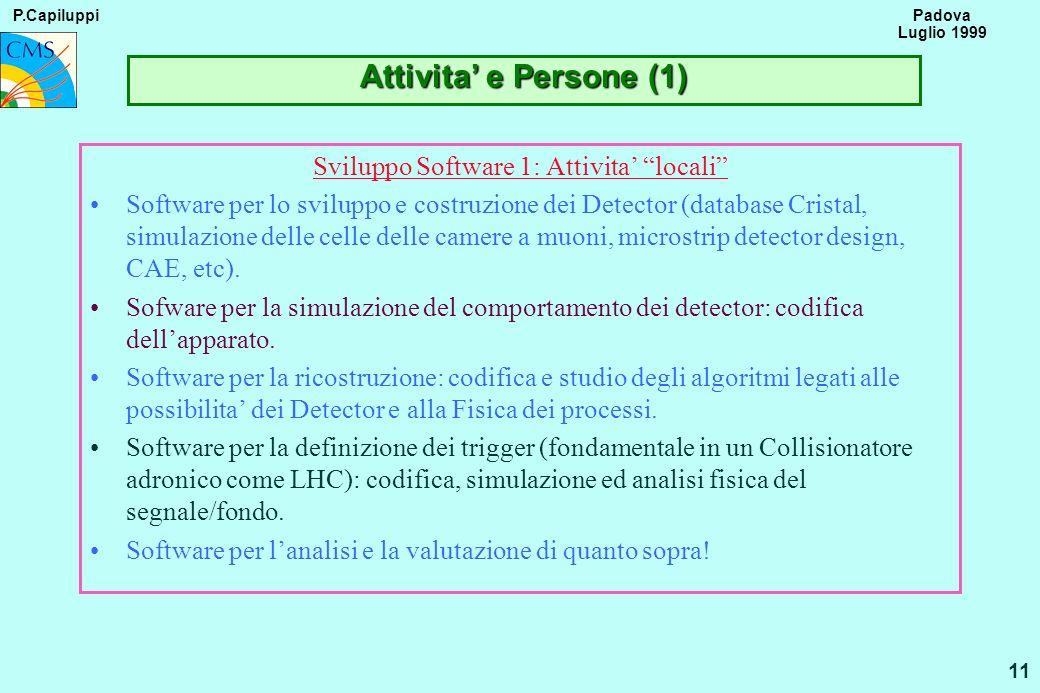 P.Capiluppi 11 Padova Luglio 1999 Attivita e Persone (1) Sviluppo Software 1: Attivita locali Software per lo sviluppo e costruzione dei Detector (dat