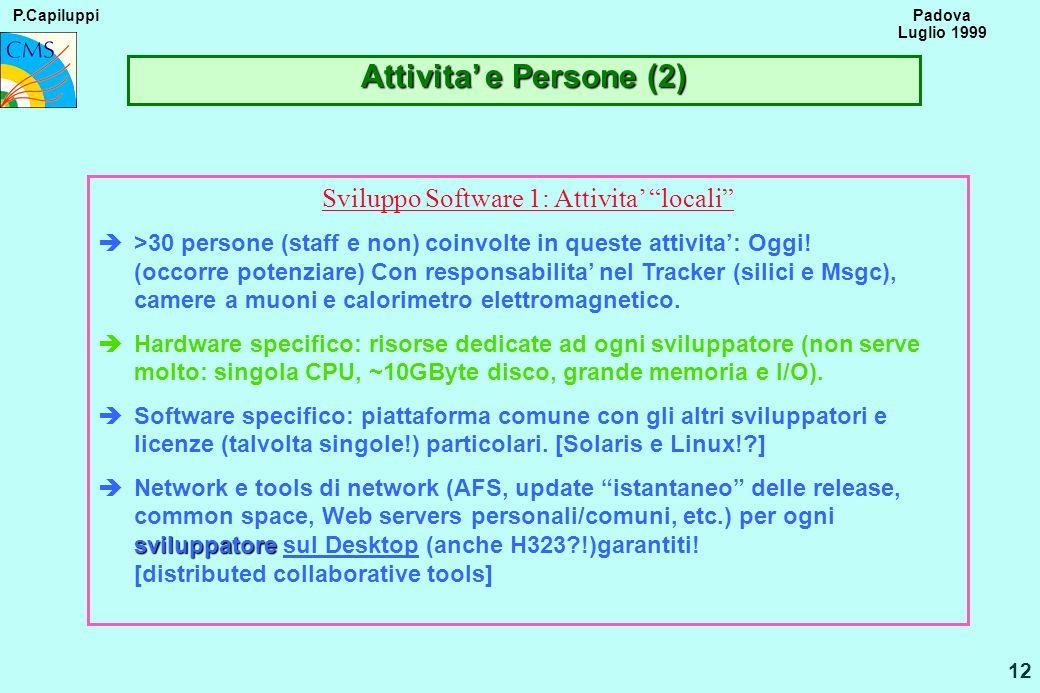 P.Capiluppi 12 Padova Luglio 1999 Attivita e Persone (2) Sviluppo Software 1: Attivita locali è>30 persone (staff e non) coinvolte in queste attivita: