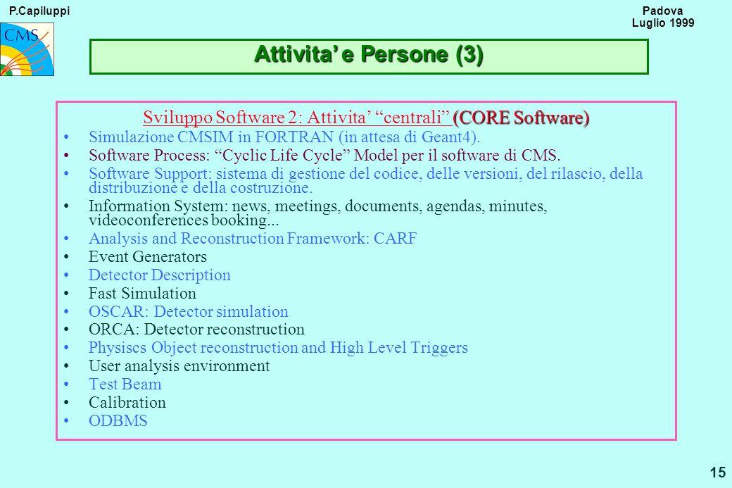P.Capiluppi 15 Padova Luglio 1999 Attivita e Persone (3) (CORE Software) Sviluppo Software 2: Attivita centrali (CORE Software) Simulazione CMSIM in F