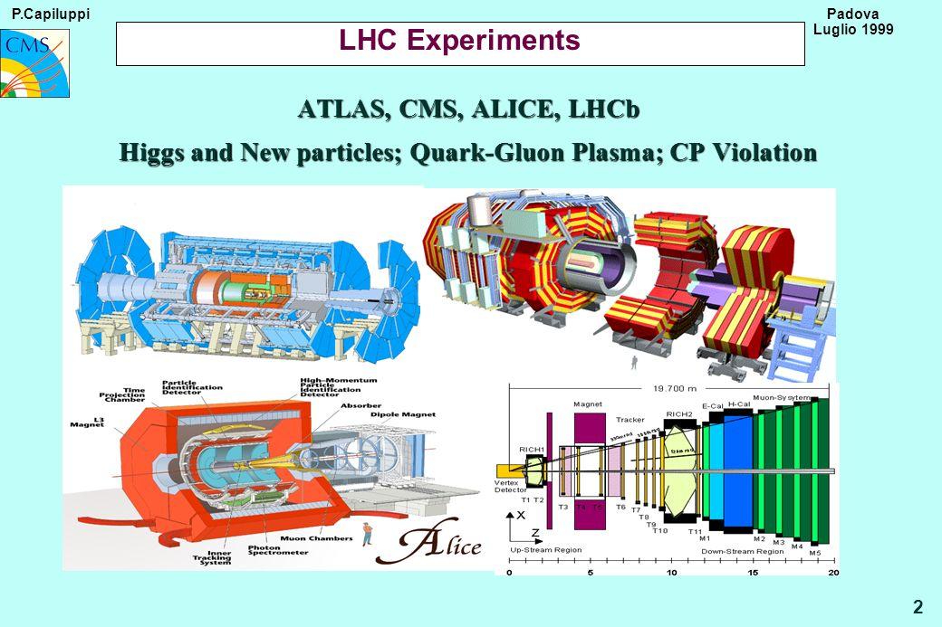 P.Capiluppi 33 Padova Luglio 1999 Comparison with LHC sized experiment