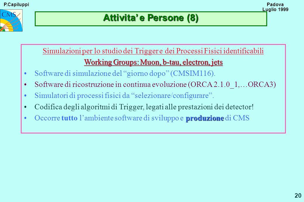 P.Capiluppi 20 Padova Luglio 1999 Attivita e Persone (8) Simulazioni per lo studio dei Trigger e dei Processi Fisici identificabili Working Groups: Mu