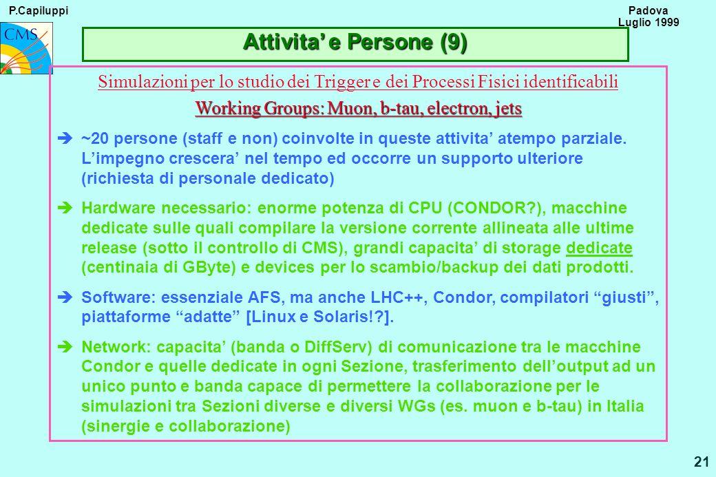 P.Capiluppi 21 Padova Luglio 1999 Attivita e Persone (9) Simulazioni per lo studio dei Trigger e dei Processi Fisici identificabili Working Groups: Mu