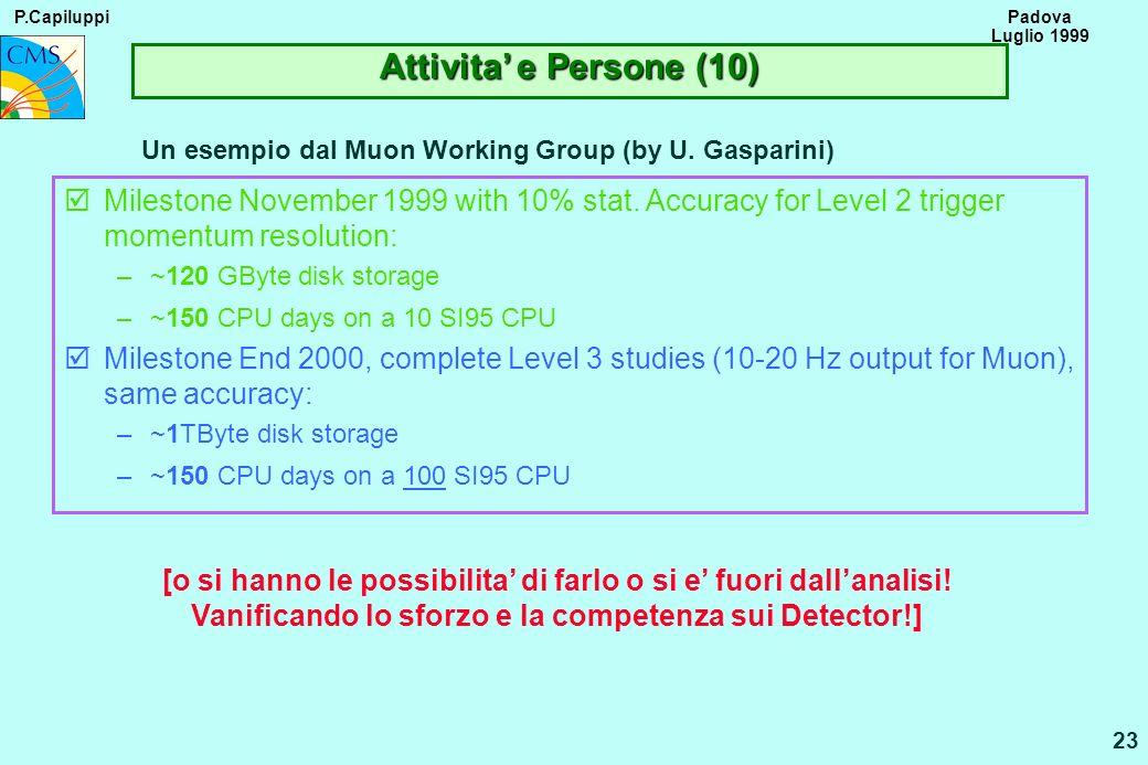 P.Capiluppi 23 Padova Luglio 1999 Attivita e Persone (10) Un esempio dal Muon Working Group (by U. Gasparini) þMilestone November 1999 with 10% stat.