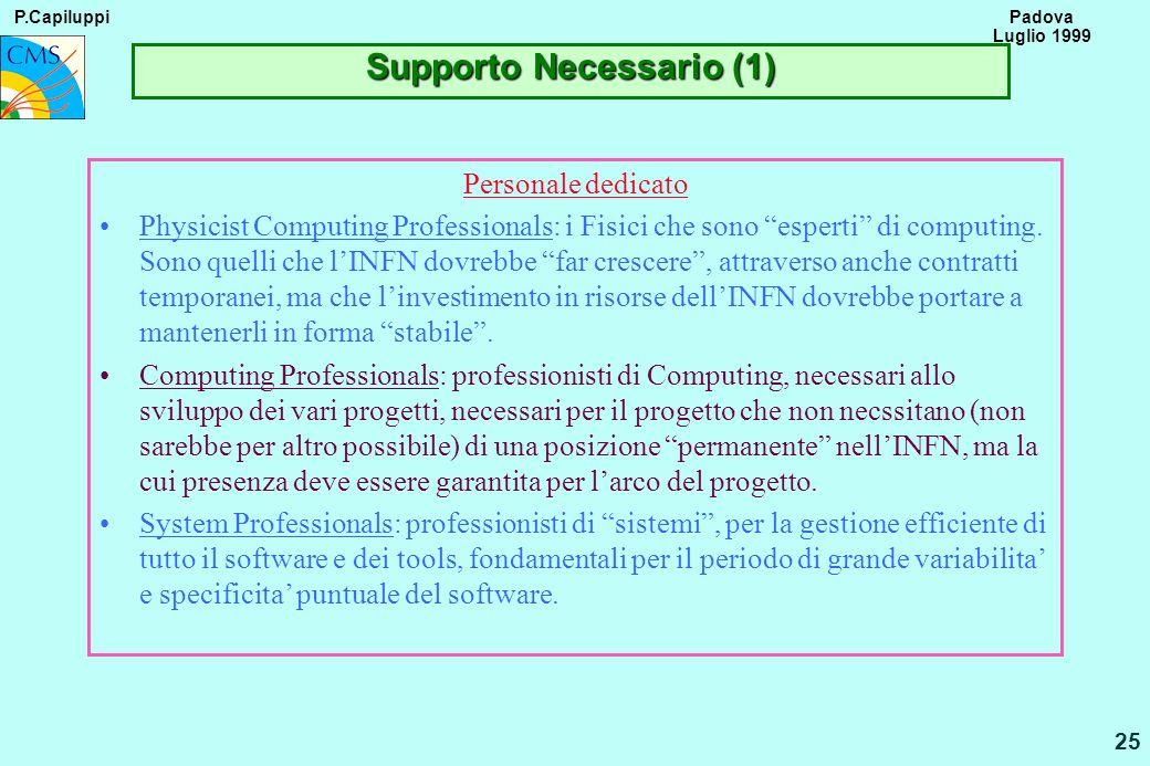 P.Capiluppi 25 Padova Luglio 1999 Supporto Necessario (1) Personale dedicato Physicist Computing Professionals: i Fisici che sono esperti di computing