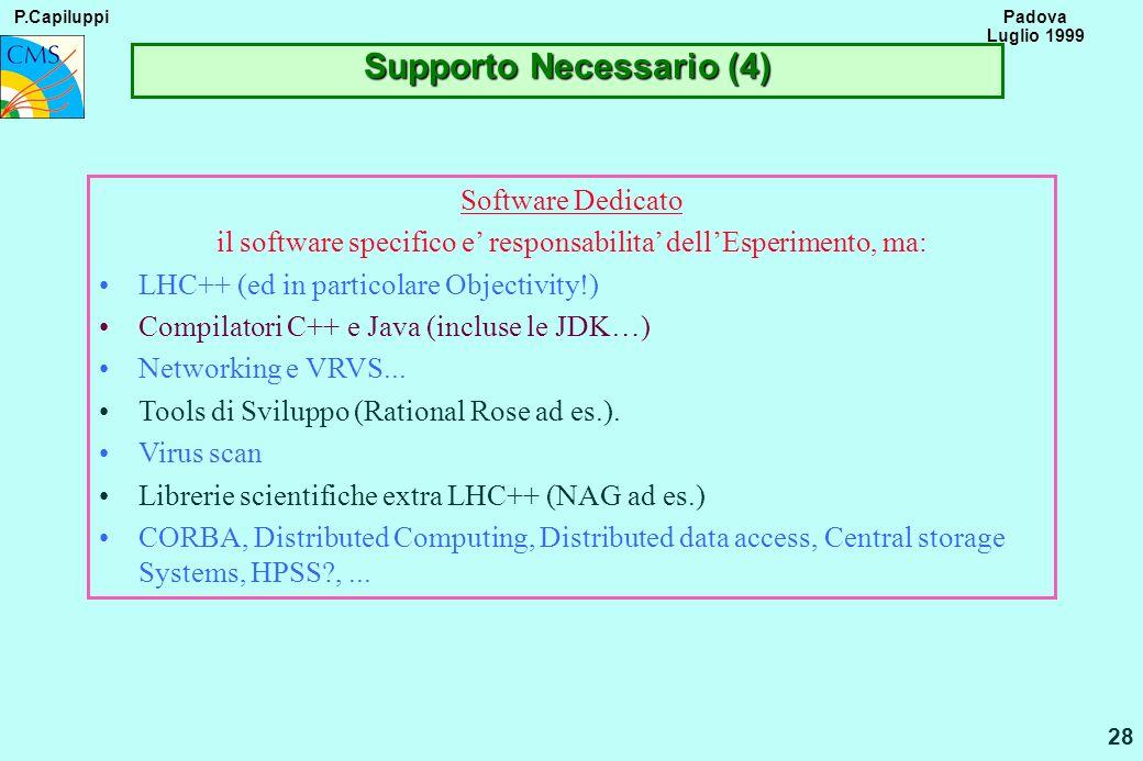 P.Capiluppi 28 Padova Luglio 1999 Supporto Necessario (4) Software Dedicato il software specifico e responsabilita dellEsperimento, ma: LHC++ (ed in p