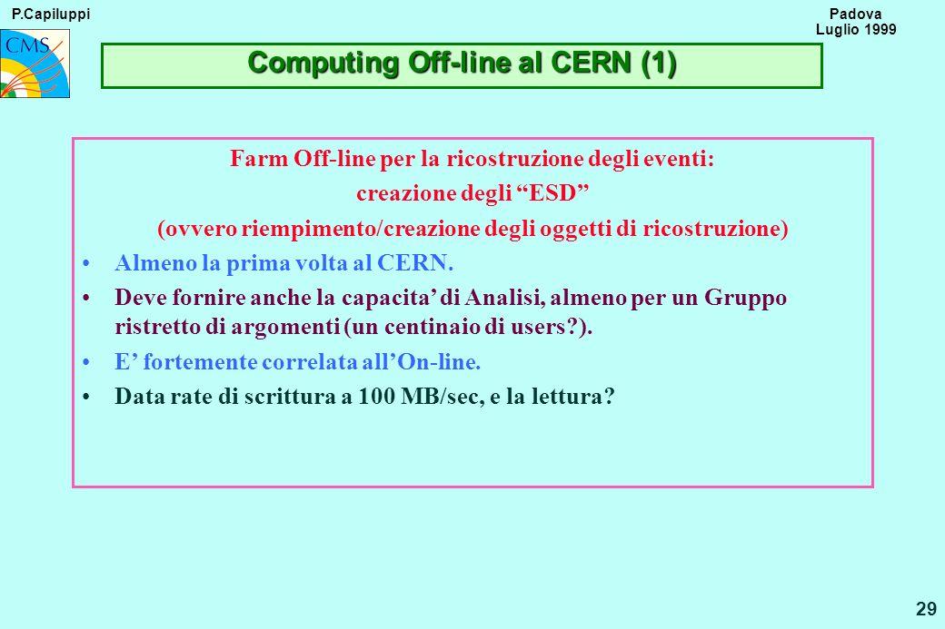 P.Capiluppi 29 Padova Luglio 1999 Computing Off-line al CERN (1) Farm Off-line per la ricostruzione degli eventi: creazione degli ESD (ovvero riempime