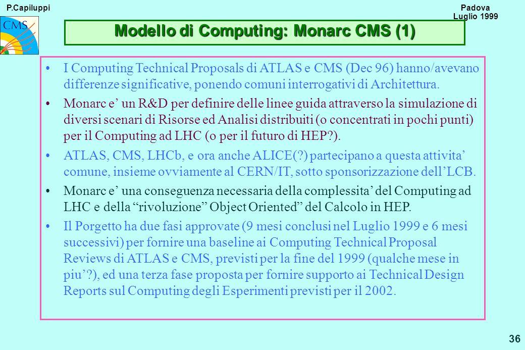 P.Capiluppi 36 Padova Luglio 1999 Modello di Computing: Monarc CMS (1) I Computing Technical Proposals di ATLAS e CMS (Dec 96) hanno/avevano differenz