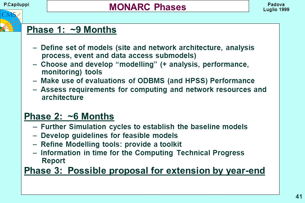 P.Capiluppi 41 Padova Luglio 1999 MONARC Phases Phase 1: ~9 Months – Define set of models (site and network architecture, analysis process, event and data access submodels) – Choose and develop modelling (+ analysis, performance, monitoring) tools – Make use of evaluations of ODBMS (and HPSS) Performance – Assess requirements for computing and network resources and architecture Phase 2: ~6 Months – Further Simulation cycles to establish the baseline models – Develop guidelines for feasible models – Refine Modelling tools: provide a toolkit – Information in time for the Computing Technical Progress Report Phase 3: Possible proposal for extension by year-end