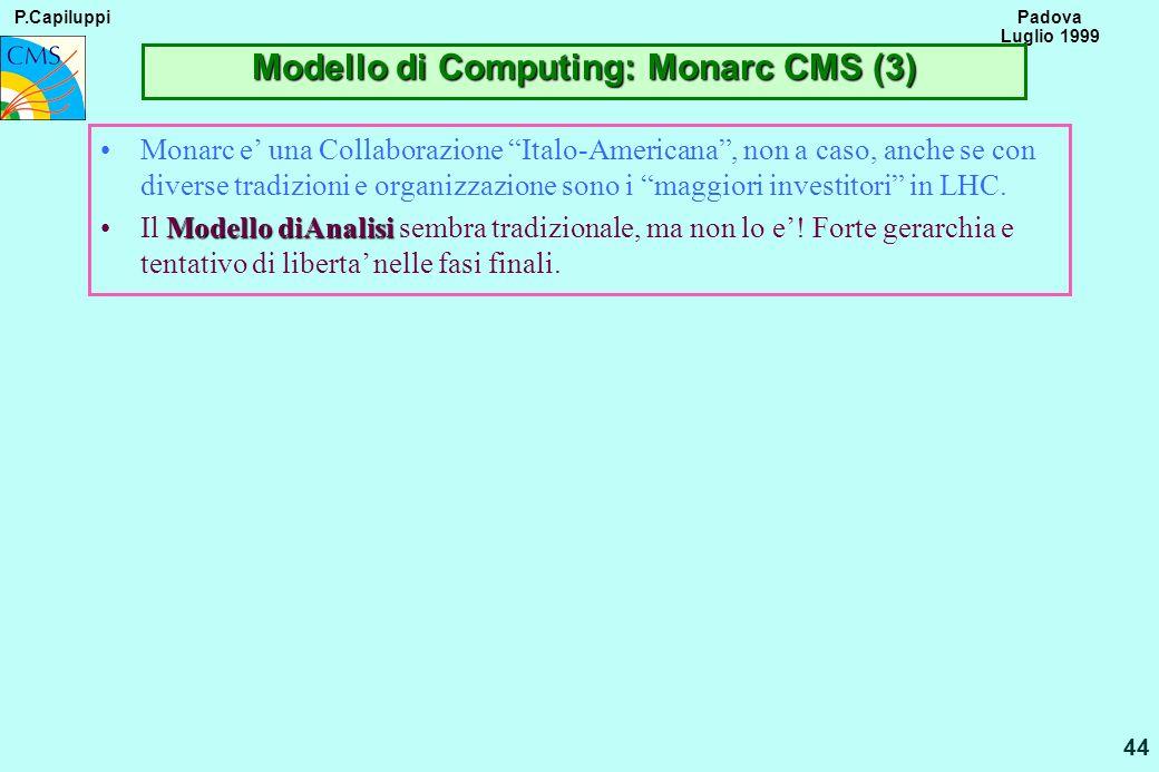 P.Capiluppi 44 Padova Luglio 1999 Modello di Computing: Monarc CMS (3) Monarc e una Collaborazione Italo-Americana, non a caso, anche se con diverse t
