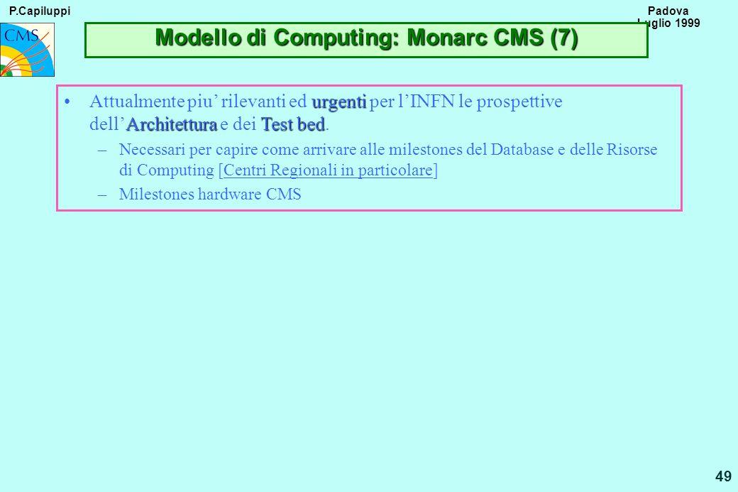 P.Capiluppi 49 Padova Luglio 1999 Modello di Computing: Monarc CMS (7) urgenti ArchitetturaTest bedAttualmente piu rilevanti ed urgenti per lINFN le p