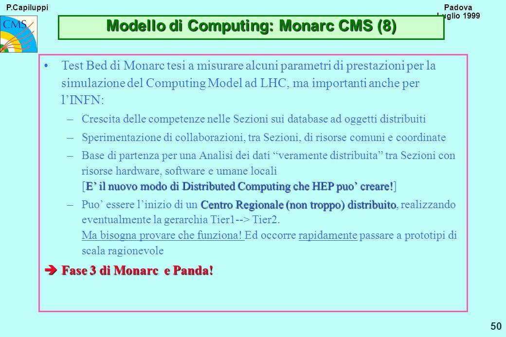 P.Capiluppi 50 Padova Luglio 1999 Modello di Computing: Monarc CMS (8) Test Bed di Monarc tesi a misurare alcuni parametri di prestazioni per la simul