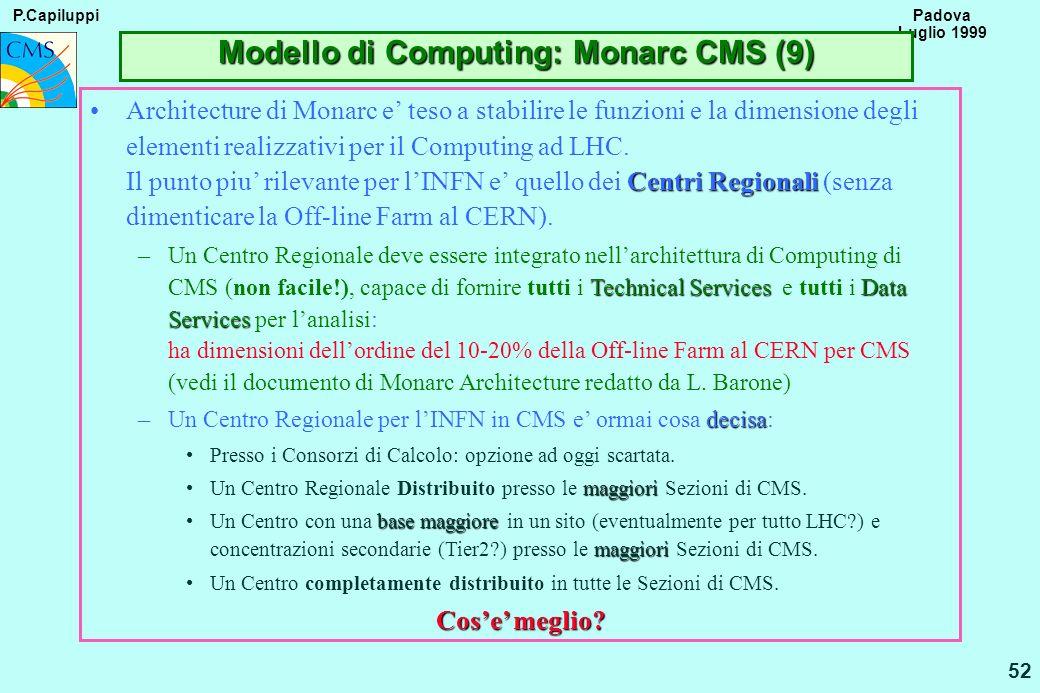 P.Capiluppi 52 Padova Luglio 1999 Modello di Computing: Monarc CMS (9) Centri RegionaliArchitecture di Monarc e teso a stabilire le funzioni e la dime
