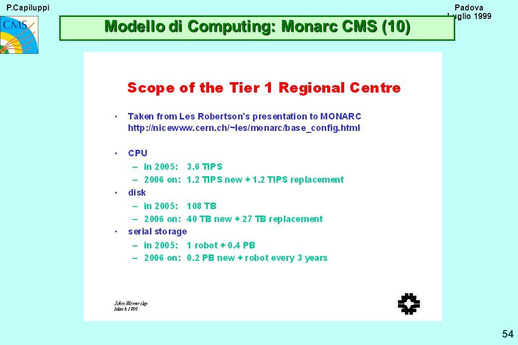 P.Capiluppi 54 Padova Luglio 1999 Modello di Computing: Monarc CMS (10)