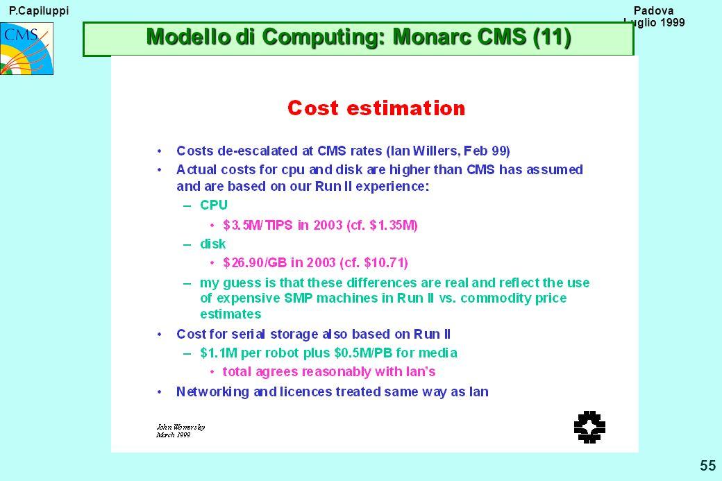 P.Capiluppi 55 Padova Luglio 1999 Modello di Computing: Monarc CMS (11)