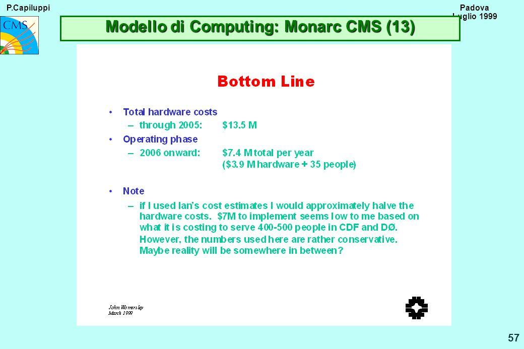 P.Capiluppi 57 Padova Luglio 1999 Modello di Computing: Monarc CMS (13)