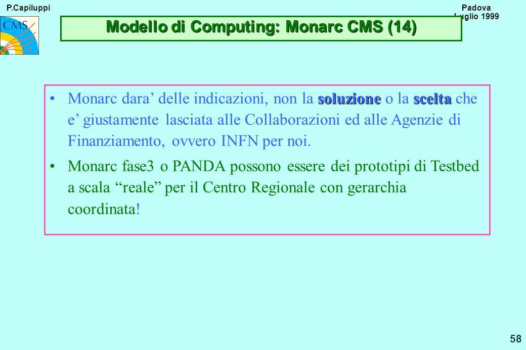 P.Capiluppi 58 Padova Luglio 1999 Modello di Computing: Monarc CMS (14) soluzionesceltaMonarc dara delle indicazioni, non la soluzione o la scelta che