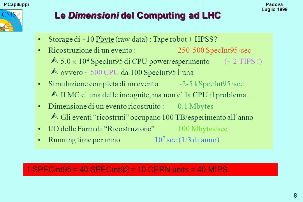 P.Capiluppi 9 Padova Luglio 1999 Analysis Model CPU totale stimata per lanalisi fisica dei dati : 1.5-2.0 10 5 SpecInt95 1500-2000 CPU da 100 SpecInt95 Ogni analisi utilizza un campione di dati dellordine di 10 7 - 10 8 eventi 20 different analysis groups in the Collaboration 25 physicists/group (500 total CMS) 30% accessing the data at the same time (40% working time x different time zones x..., ~ 8 hours/day ) (150 total CMS) 7.5 physicists/group active at the same time 4-6 Regional Centres each dedicated to 5 Analysis groups (as an example)