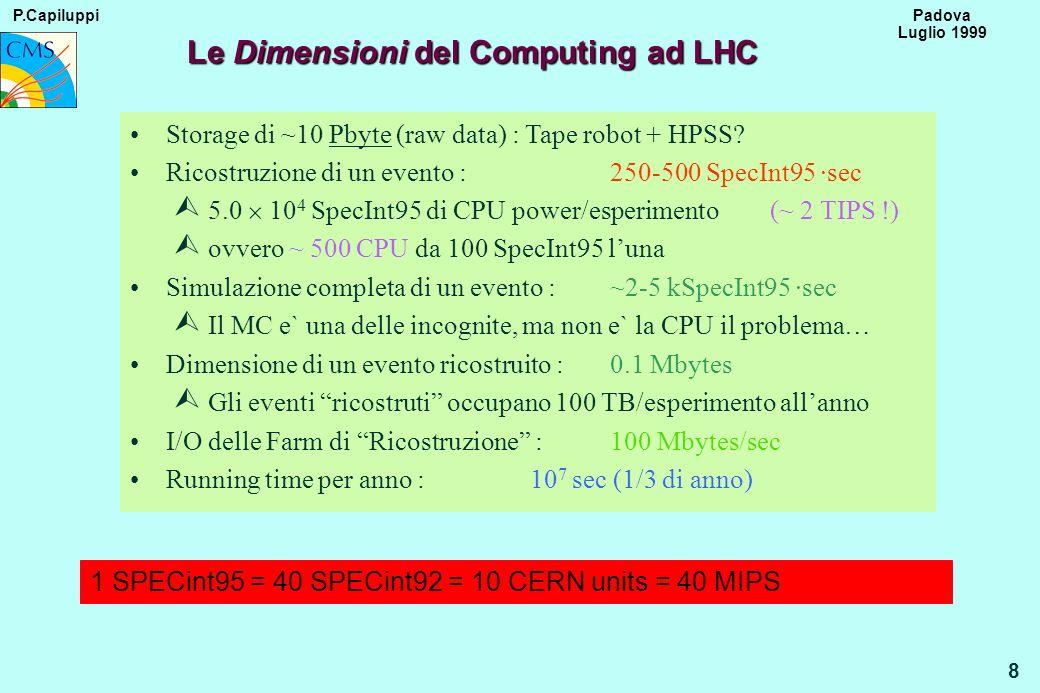P.Capiluppi 8 Padova Luglio 1999 Le Dimensioni del Computing ad LHC Storage di ~10 Pbyte (raw data) : Tape robot + HPSS? Ricostruzione di un evento :2
