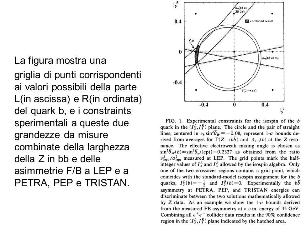 La figura mostra una griglia di punti corrispondenti ai valori possibili della parte L(in ascissa) e R(in ordinata) del quark b, e i constraints speri