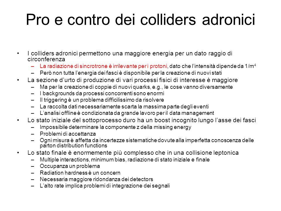 Pro e contro dei colliders adronici I colliders adronici permettono una maggiore energia per un dato raggio di circonferenza –La radiazione di sincrot